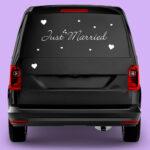Autoaufkleber-JustMarried_Einzeiler_Van_violet